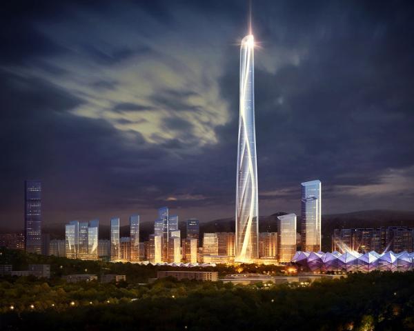 Il grattacielo illuminato di notte del Centro Internazionale di Shenzhen in Cina