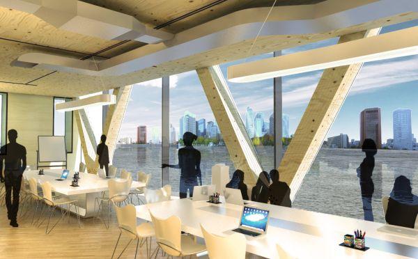 Rotterdam ospiterà il primo grattacielo galleggiante al mondo in legno. Rendering spazi per uffici