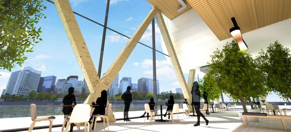 Rotterdam ospiterà il primo grattacielo galleggiante al mondo in legno. Rendering spazio interno