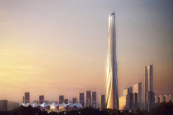 Il grattacielo a forma di twist del Centro Internazionale di Shenzhen in Cina
