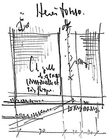 Maison Hermes a Tokyo by Renzo Piano.  I disegni dell'Architetto Piano