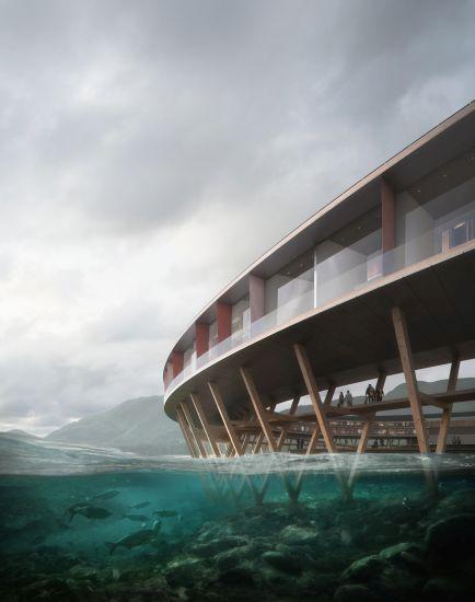Render della struttura portante in legno dell'hotel Svart in Norvegia, firmato Snøhetta