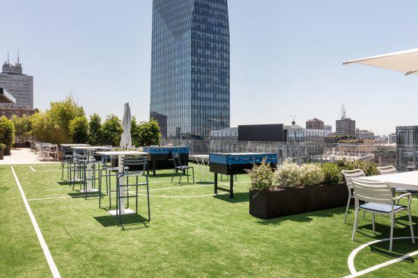 Una nuova casa per l'Inter a Milano nell'edificio The Corner. La terrazza