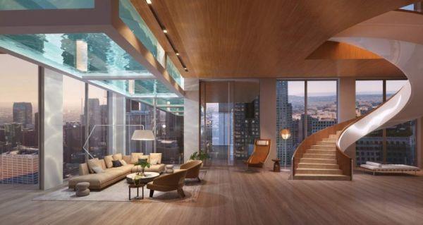Rendering dell'interno di un appartamento con vista piscina del progetto di un Grattacielo a Los Angeles