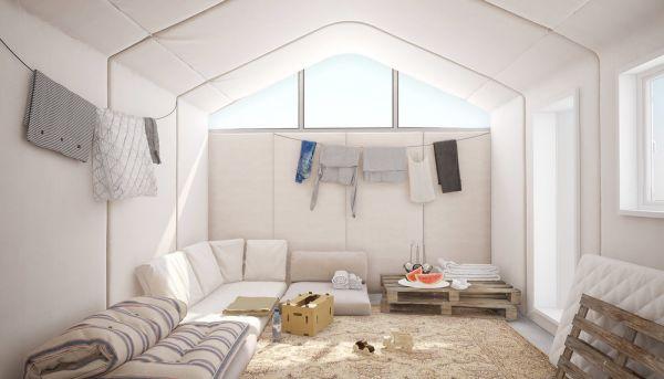 Interno unità abitativa campo profughi realizzato in cemento arrotolabile