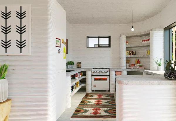Rendering Interno di un'abitazione stampata in 3d in America Latina