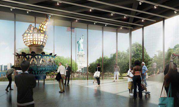 Uno degli spazi interni del nuovo museo della Statua della Libertà