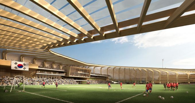 interno del Korean National Football Centre firmato UNStudio