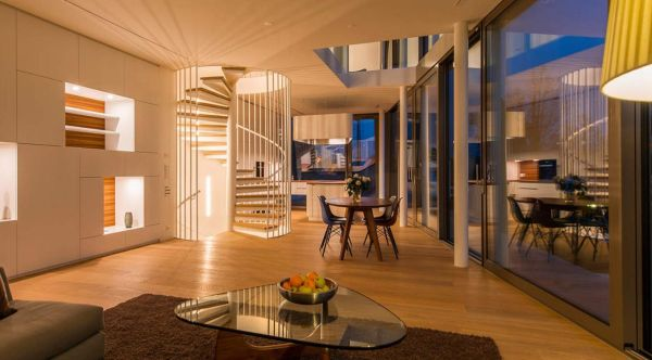 Interno casa Flexhouse dell'architetto Camenzind