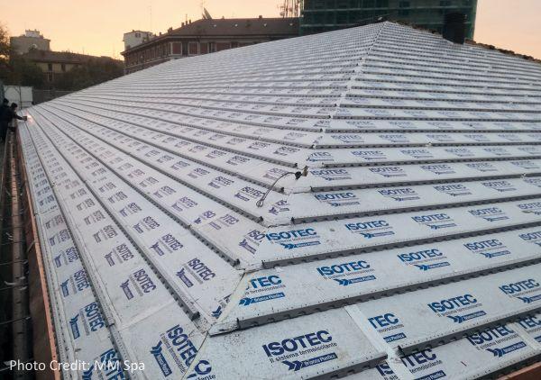 Isotec di Brianza Plastica per la coibentazione del tetto della Centrale dell'Acqua di via Cenisio a Milano