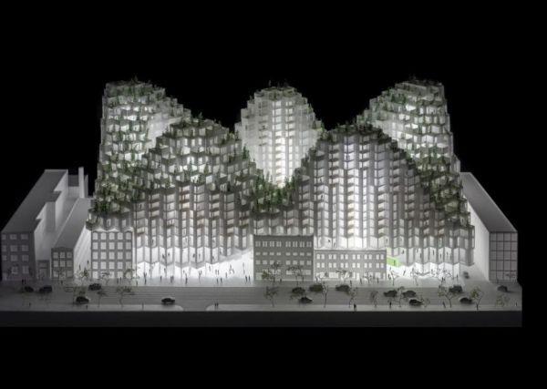Render progetto King Toronto realizzato con mattoni di vetro, integrati in uno scheletro di calcestruzzo