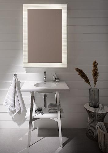 Lavabo consolle in ceramica bianca lucida