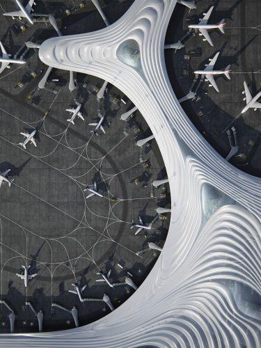 I lucernari che caratterizzano il terminal dell'aeroporto in Cina che sembra un fiocco di neve