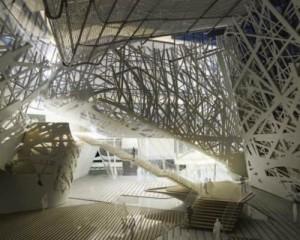 Le strutture metalliche che sostengono Palazzo Italia
