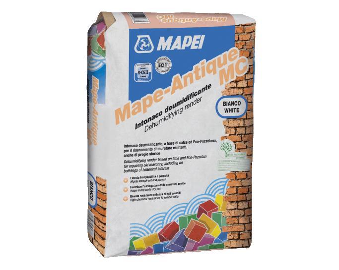 Gamma di malte deumidificanti premiscelate per gli edifici in muratura MAPE-ANTIQUE