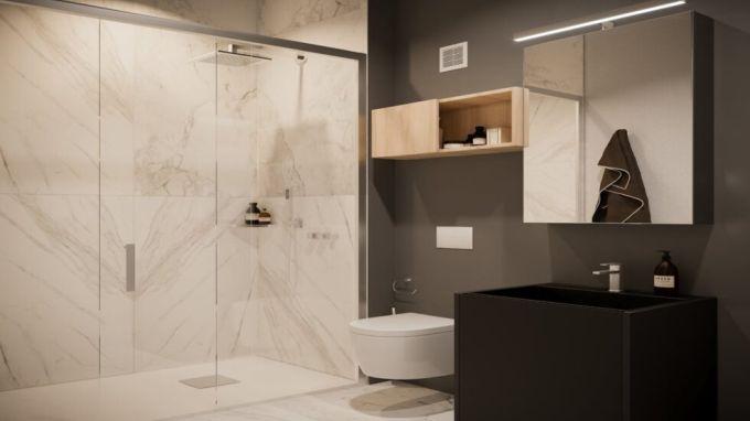 Bagno di un micro-appartamento di Artisa a Milano