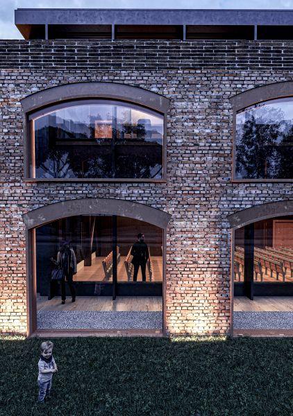 Particolare delle murature e delle vetrate del nuovo Museo del Territorio di Riccione