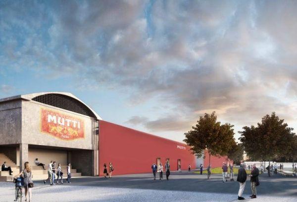 Rendering facciata del nuovo stabilimento Mutti by Carlo Ratti