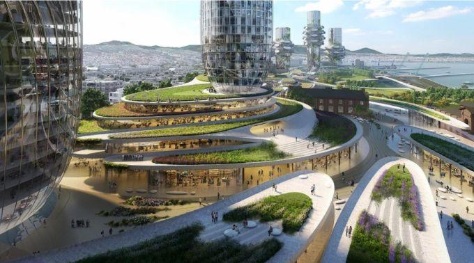 La base di uno dei 10 grattacieli del progetto Oculis a Salonicco