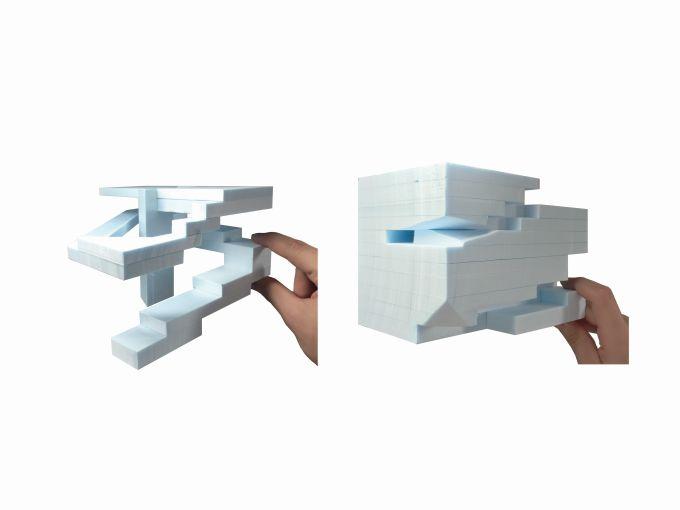 Il modello di funzionamento del cubo di OMA a Gwanggyo in Corea del Sud