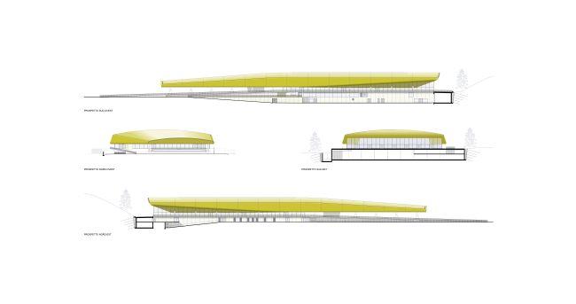 Brunico, prospetti del palaghiaccio di CeZ Architetti