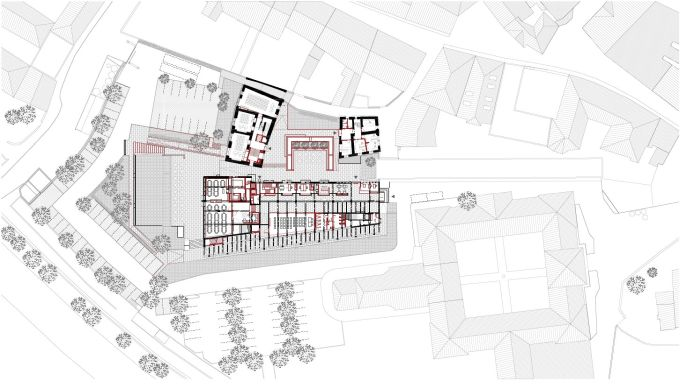 Restauro e ampliamento Accademia Cusanus: Planimetria generale e piano terra dell'intervento