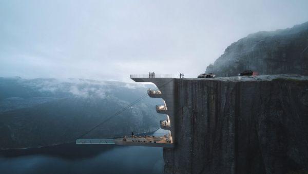 hotel sospeso sulla cima di una falesia in Norvegia