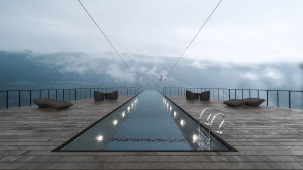 La piscina in vetro su tetto dell'hotel sospeso progettato in Norvegia da Hayri Atak