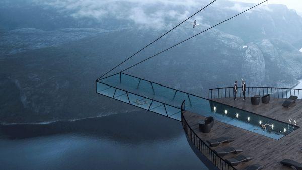 Hayri Atak ha realizzato un hotel sospeso con piscina sulla cima di una falesia in Norvegia