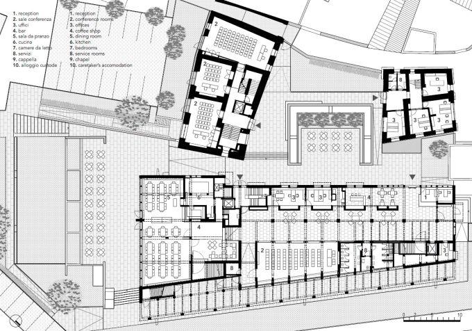 Accademia Cusanus: Il piano terra terra del progetto con indicazioni delle funzioni