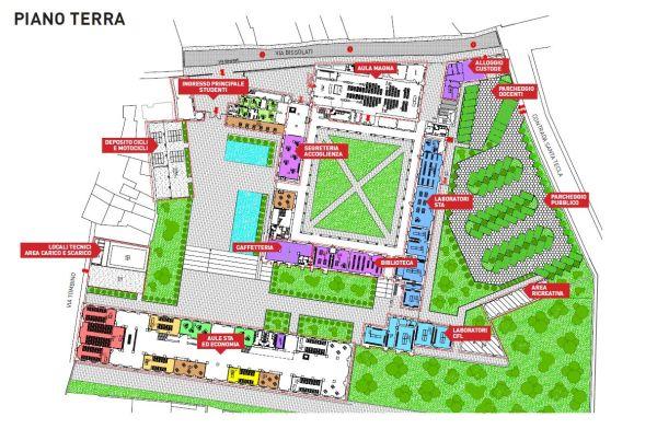 Pianta del piano terra della nuova università di Cremona