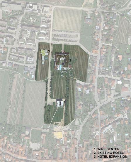 Pianta del complesso Loisium in Austria; sulla sinistra l'ampliamento dell'albergo