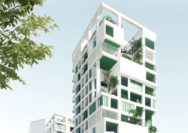 Piastrelle colorate di bianco e di verde per la  Kaohsiung Social Housing.