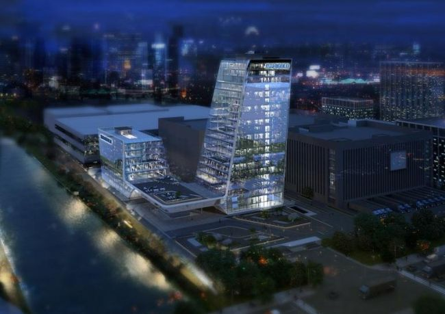 Vista notturna della sede di Higold Pininfarina Architects