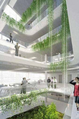 La sede di Higold presenta numerose aree verdi che connettono l'architettura alla natura