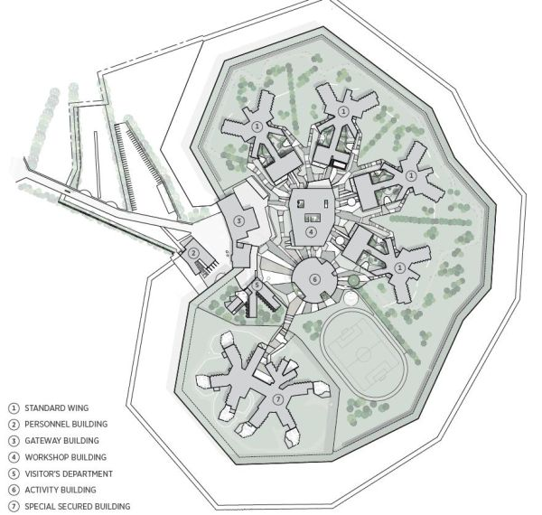La planimetria del complesso penitenziario Storstrøm Fængsel