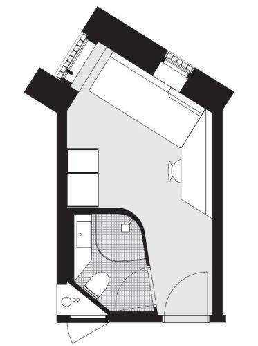 La pianta di una cella del carcere Storstrøm Fængsel  (credits C.F. Møller Architects)