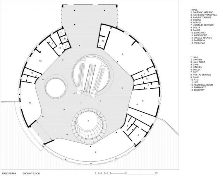 Planimetria della hall di accoglienza