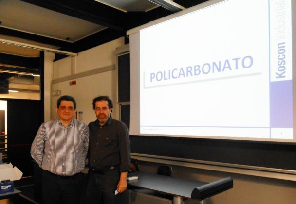 Il Dott. Matteo Borsani di Koscon Industrial S.A. con il Prof. Claudio Sangiorgi presso la Scuola di Architettura, Urbanistica, Ingegneria delle Costruzioni del Politecnico di Milano.