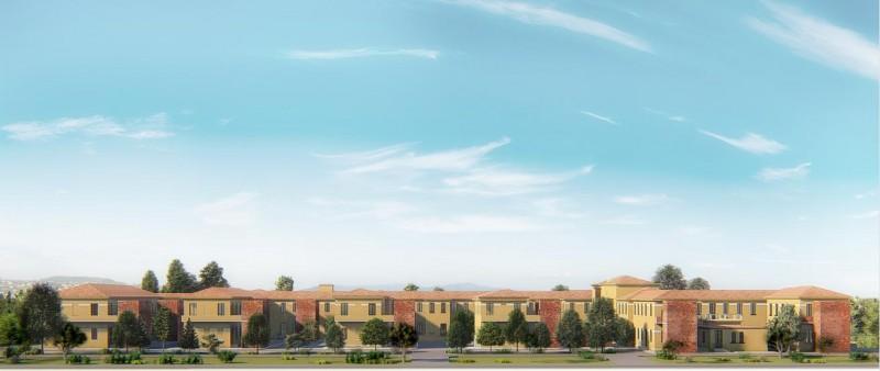 Render del prospetto del padiglione delle Cliniche mediche del Policlinico San Matteo di Pavia