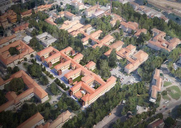 Il complesso del Policlinico San Matteo di Pavia dall'alto (img by Politecnica)