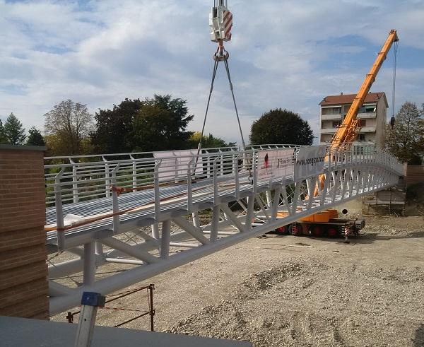 Cantiere del ponte ciclopedonale di Parma