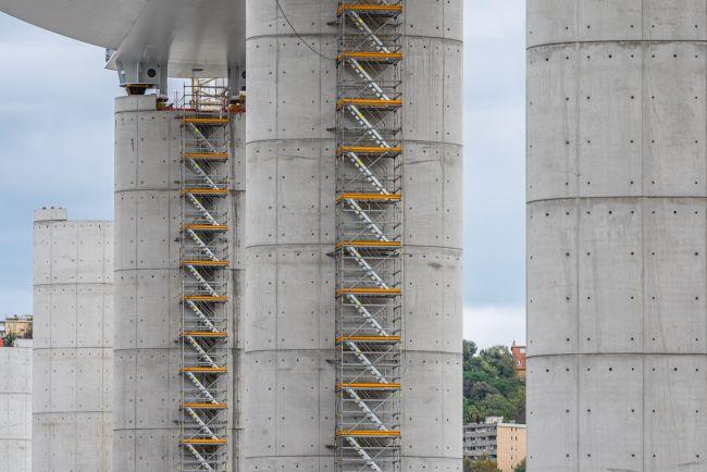 ponte polcevera a Genova, le fasi di realizzazione delle pile della struttura portante