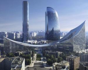 Due grattacieli collegati da un ponte completano citylife