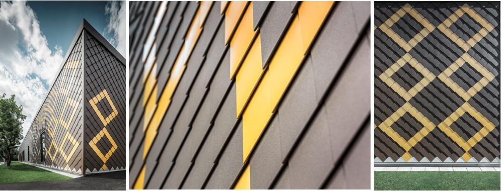 Nella scuola materna di Sorgarden sono state scelte le forme geometriche dalle linee uniche delle losanghe Prefa