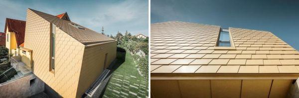 Scandole color marrone sahara di PREFA per il tetto e la facciata