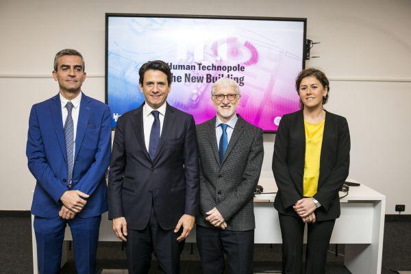 Il tavolo dei relatori alla presentazione del bando per il nuovo headquarter Human TerchnopoleHuman Technopole: un nuovo edificio per laboratori di ricerca', con presidente fondazione Human Technopole