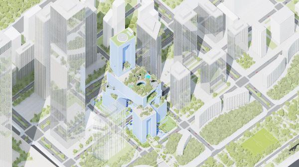 Gli 8 blocchi che compongono il grattacielo tridimensionale Vanke Headquarter Tower