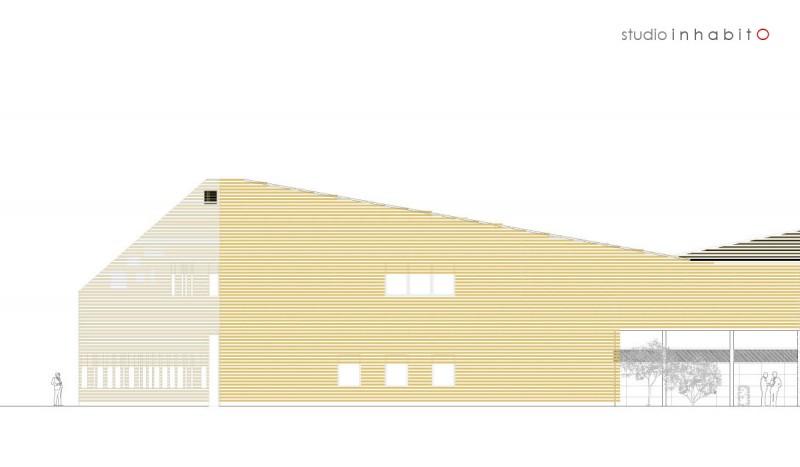 Progetto della sede Eurosets con dettaglio del frangisole
