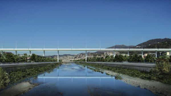 Rendering nuovo Ponte Genova firmato Renzo Piano